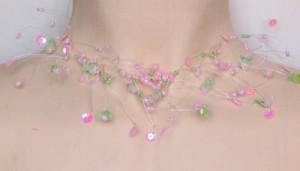 Collier de mariée rose et vert