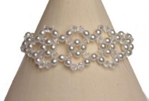 Bracelet mariage blanc et cristal