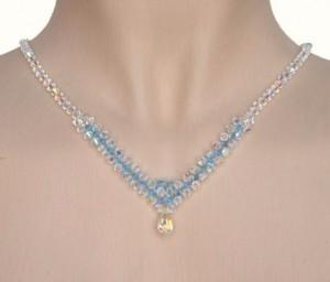 Collier Mariage cristal bleu et irisé