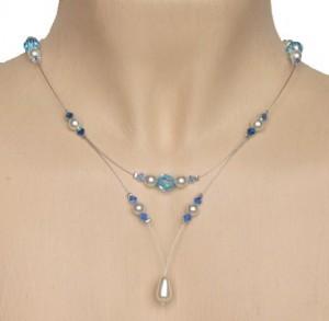 Collier mariage blanc et cristal bleu