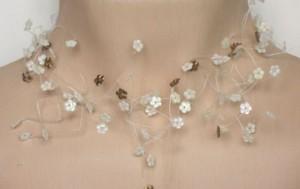 Collier mariage ivoire clair et bronze