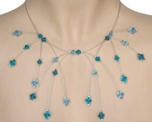 Collier mariage cristal bleu