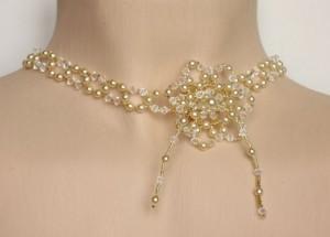 Collier mariage cristal, ivoire et or