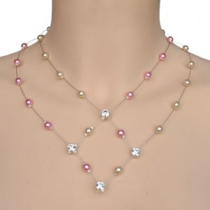 Collier mariage ivoire, rose et strass