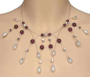 collier mariage blanc, rouge et strass