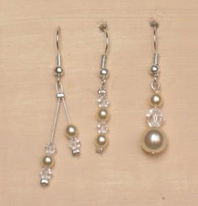 Boucles d'oreilles mariage en ivoire et cristal
