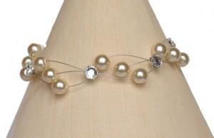 Bracelet mariage ivoire et strass
