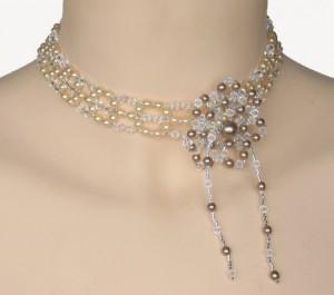 Collier mariage cristal, ivoire et bronze