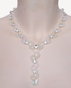 collier mariage blanc, cristal et strass
