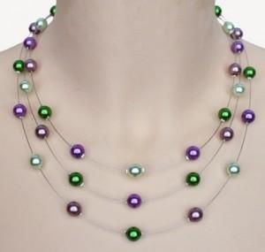 collier fantaisie violet et vert