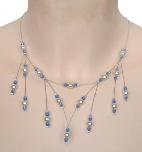 collier mariage ivoire et cristal bleu