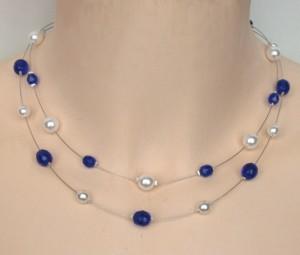 collier mariage blanc et bleu