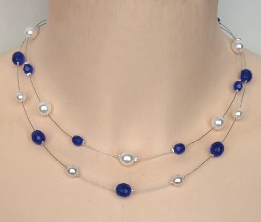 collier perle bleu