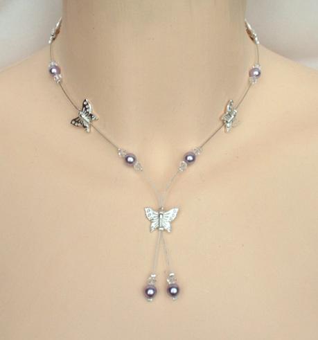 collier mariage parme, cristal et papillons