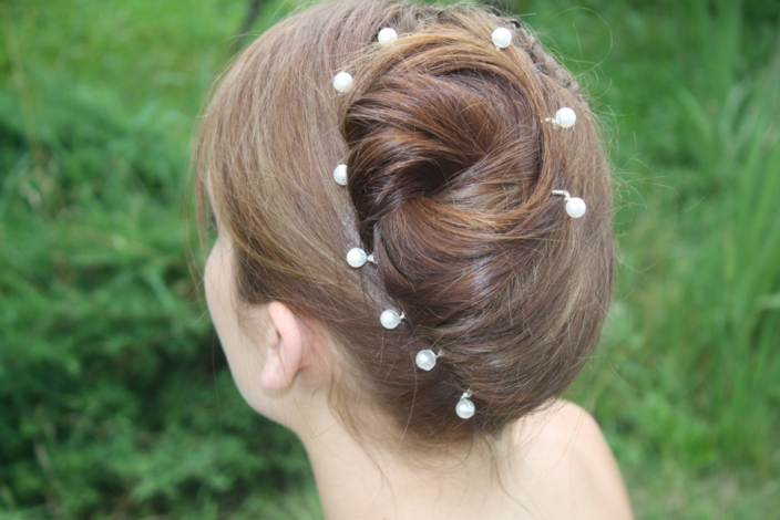 Epingle à cheveux mariage blanc