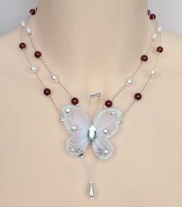 Collier mariage blanc bordeaux papillon