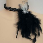 Collier mariage noir, argent + papillon
