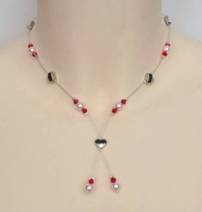Collier mariage coeur rouge et rose