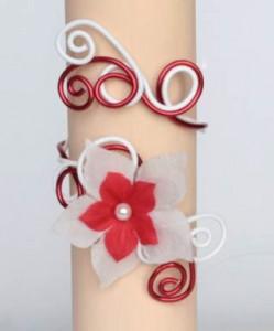 Bracelet_mariage_aluminium_fleur_blanc_rouge