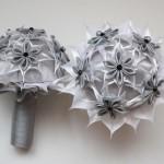 Bouquets de fleurs satin gris blanc noir