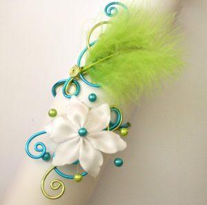 Bracelet mariage personnalisé turquoise anis blanc