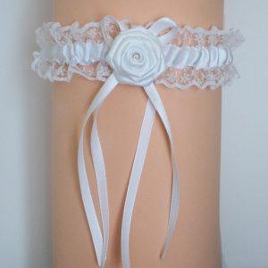 Jarretière mariage blanche fleur satin et dentelle